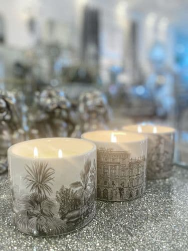 Set Of 3 Monochrome Candle Pots Scented