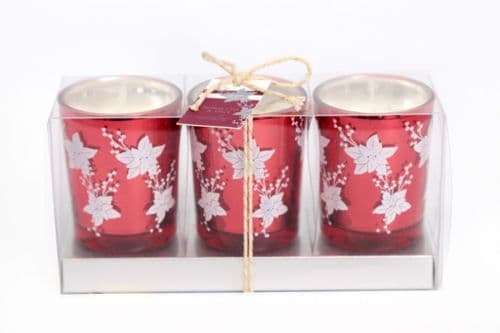 Set Of 3 Votives Christmas Red