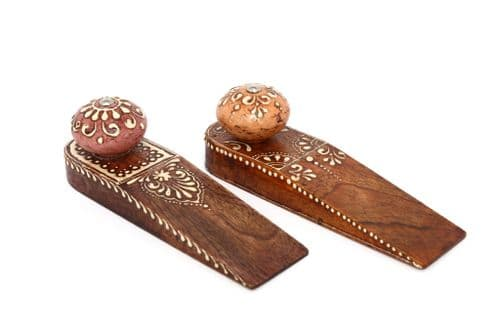 Set Of 4 Natural Wooden Handicraft Doorstop/Wedge