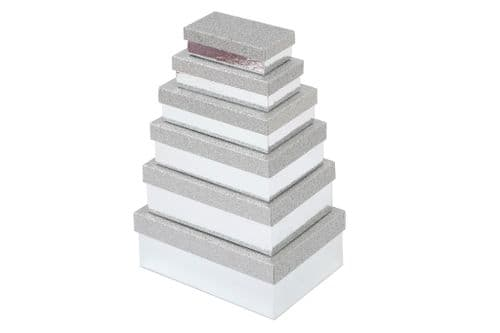 Set Of 6 Silver Rectangle Gift Boxes With Glitter Lids