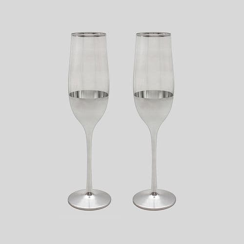 Silver Tint Flute Glasses Silver