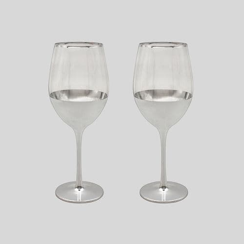 Silver Tint Set Of 2 Wine Glasses