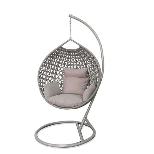 Single Open Weave Rattan Egg Chair with Cushions In GREY