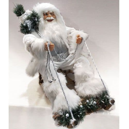 "Sitting Plush Santa White & Silver 24"" On Sledge"