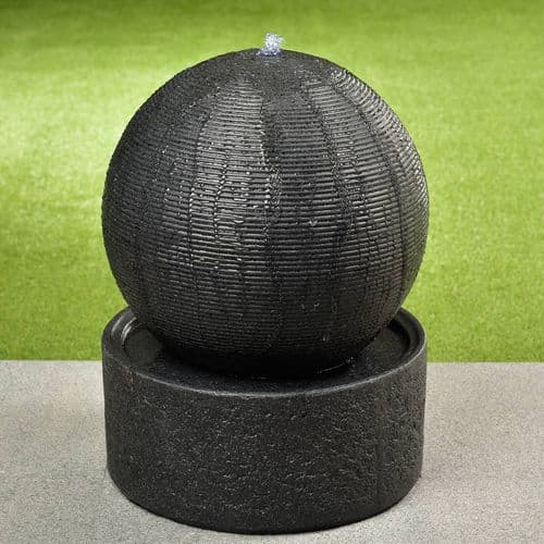 Water Feature Ribbed Ball in Dark Grey With LED