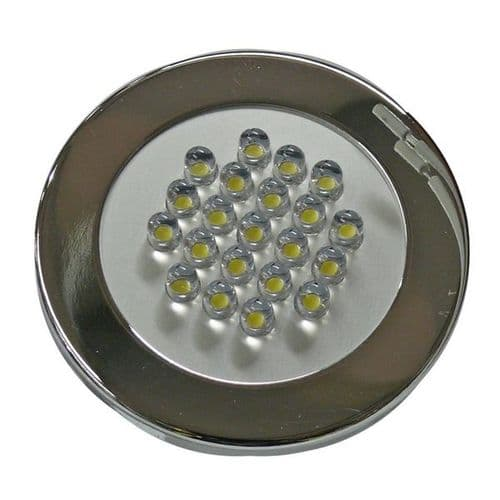 12 LED recessed eyeball spotlight. 68mm. In RAL9006 Painted Steel/Polished Chrome. 20mm Deep.