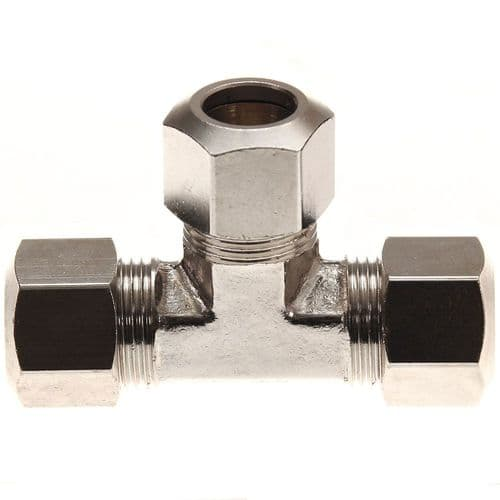 """3/8"""" Compression Tee Nickel Plated Brass"""