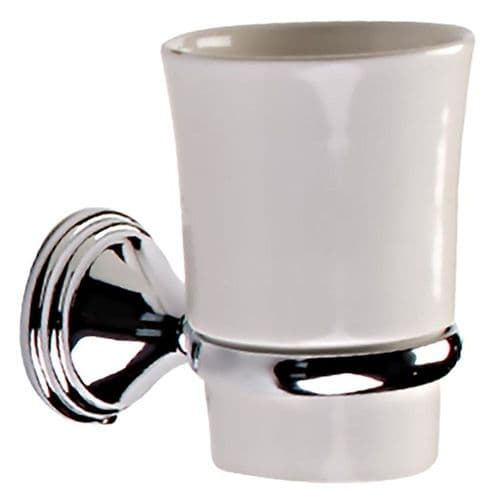 ARNO TUMBLER HOLDER IN CHROME AND WHITE