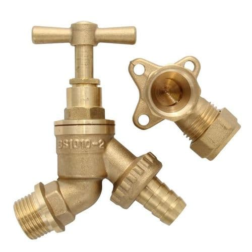 BRASS OUTDOOR GARDEN TAP WITH WALL MOUNT