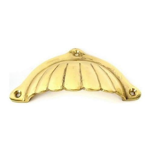 Drawer Pull Sunrise Cast Polished Brass
