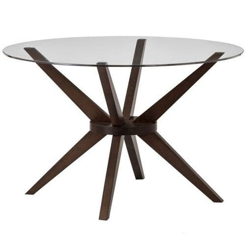Glass Topped Table With Walnut Base