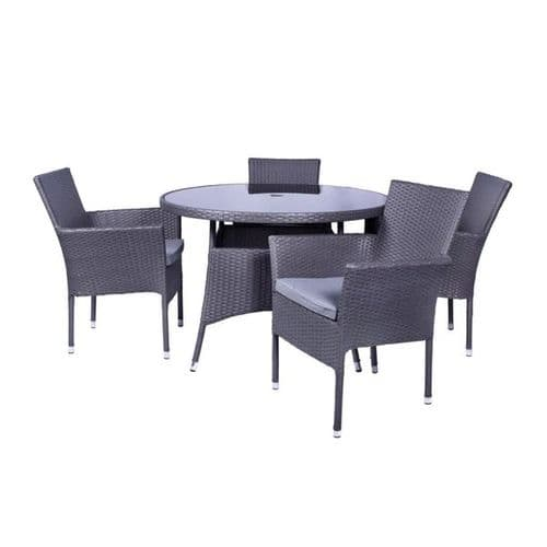 Malaga 4 Seater Fixed Chair Dining Set Grey