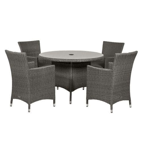 Paris Round Carver Dining Set With Cushions Grey