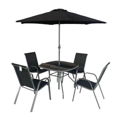Rio 4 Seater Dining Set Including Table & Parasol Black