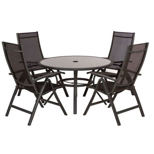 Sorrento 4 Seater Dining Set With Recliner Chairs Black