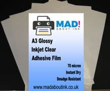 10 A3 Inkjet Printable Clear Adhesive Acetate Label Sticker Film Sheets 70mic