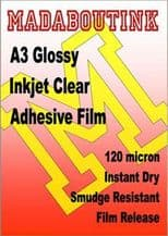 Clear Glossy Vinyl Inkjet Adhesive Sticker Film 20 A3 Sheets