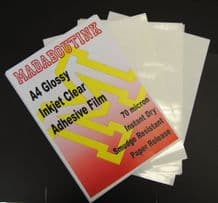 Clear Glossy Vinyl Inkjet Adhesive Sticker Film 5 A4 Sheets