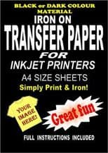 Inkjet Iron On T Shirt Transfer Paper For Dark Fabrics 20 A4 Sheets