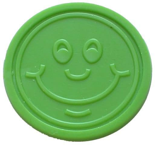 Green Happy Face Plastic Token (25mm)