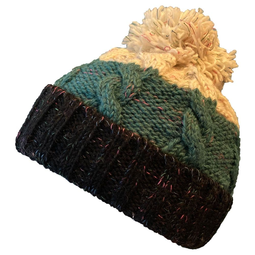 Chunky 3 tone bobble hat with turquoise