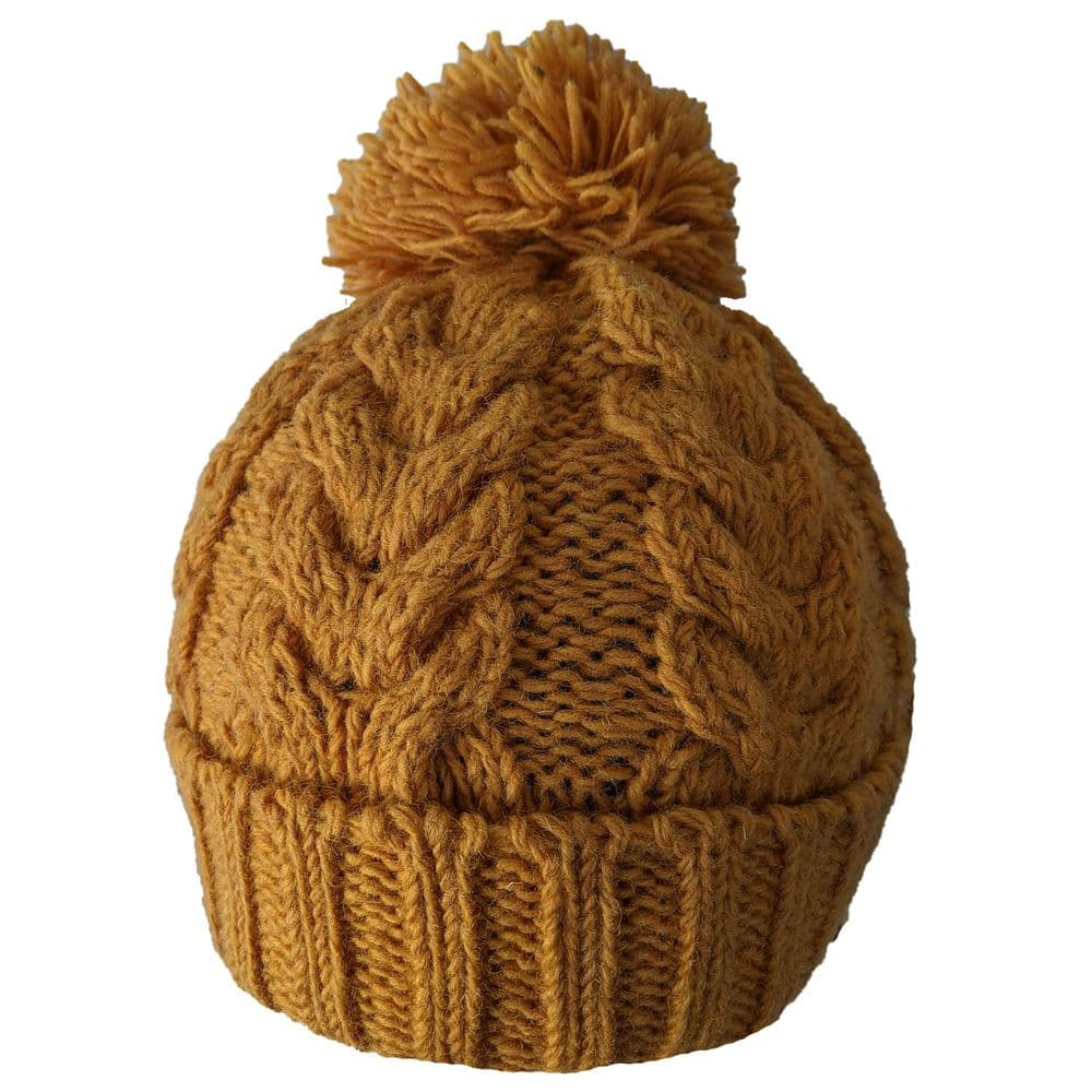 Chunky cable pattern bobble hat in mustard