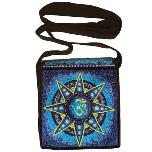 Hand-Embroidered Bag with a Blue Om Star design
