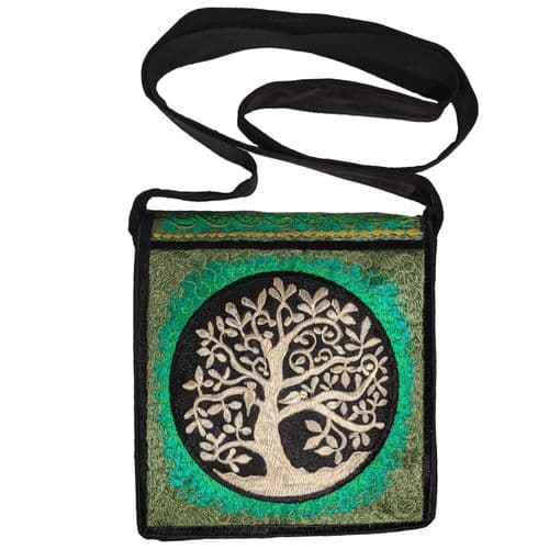 Hand-Embroidered Bag with Golden Tree Of Life Design
