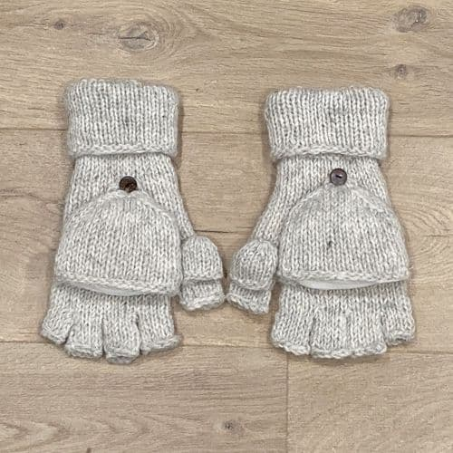 Knitted Glove with Mitten Flap in Cream