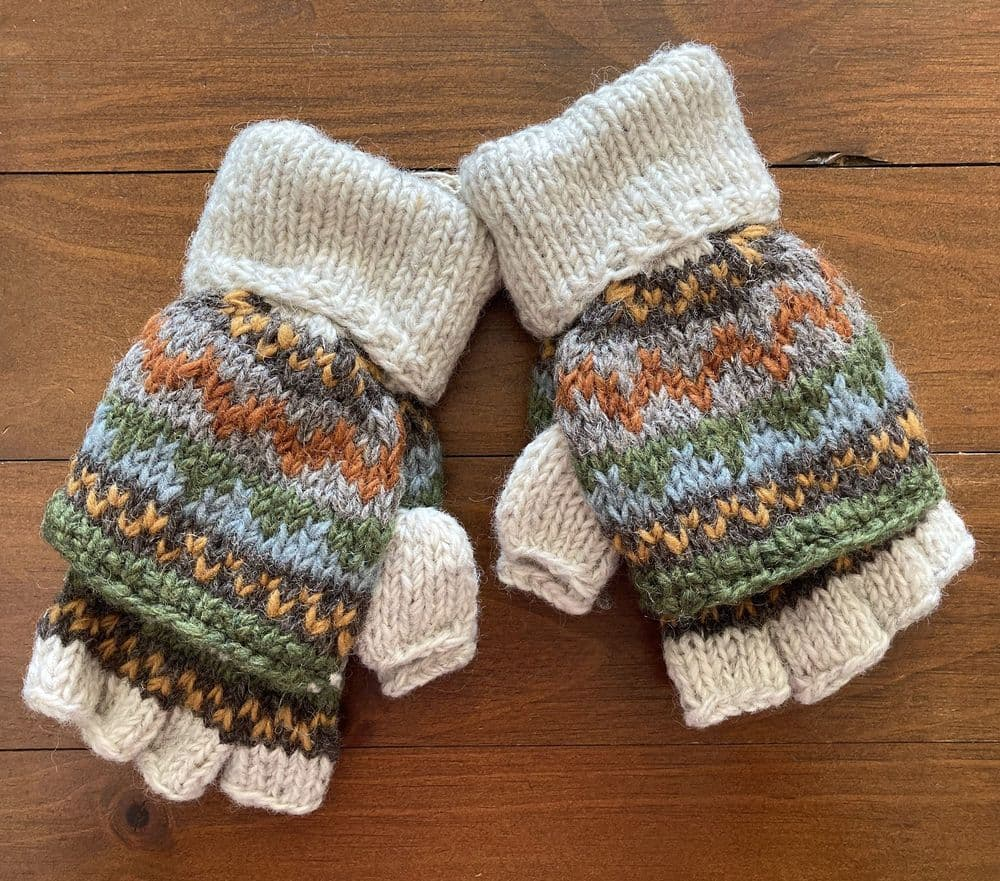 Knitted Glove with Mitten Flap in Cream Fair Isle