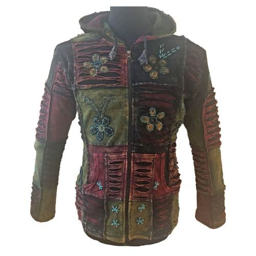 Stretch Floral Embroidered Hoody in Burgundy, Green and Black