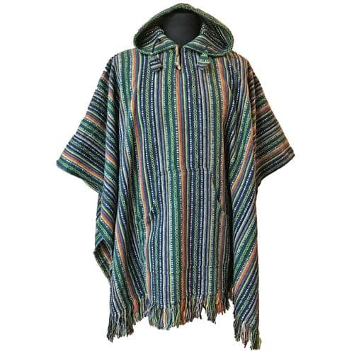 Thick Cotton Hooded Poncho in Lime Green, Blue and Orange Stripes
