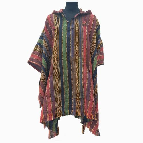 Thick Cotton Hooded Poncho in Maroon, Green, Blue & Gold stripes