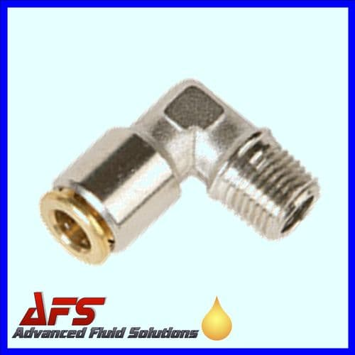 4mm x M10x1 HP 90° Elbow FIXED Brass Push Fit Connector