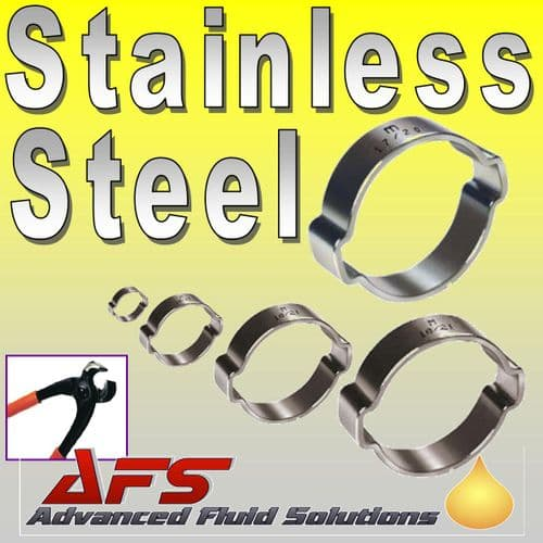 9mm - 11mm Stainless Double Ear 'O' Clips
