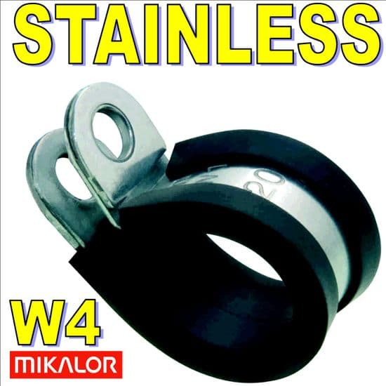 Mikalor W4 Stainless Steel Rubber Lined P Clips Pipe/Tube Clamps