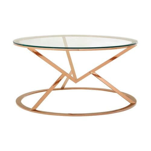 Adair Round Coffee Table Rose Gold Home Furniture