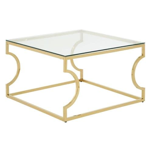 Aiden Square Coffee Table Gold Finish Home Furniture
