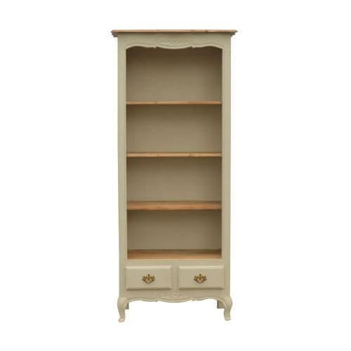Arambol Carved Bookcase Oak and Cream Home Furniture