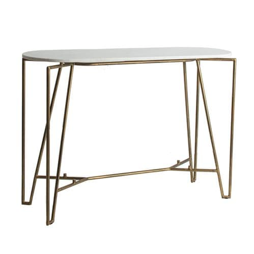 Articus White Marble And Gold Console Table For Sale