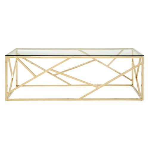 Axel Glass Coffee Table Champagne Gold Home Furniture