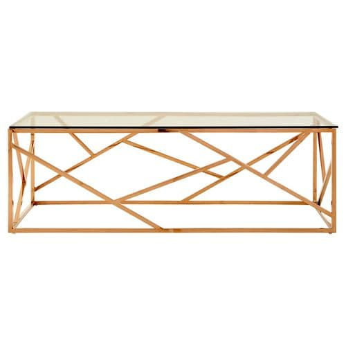 Axel Glass Coffee Table Rose Gold Home Furniture