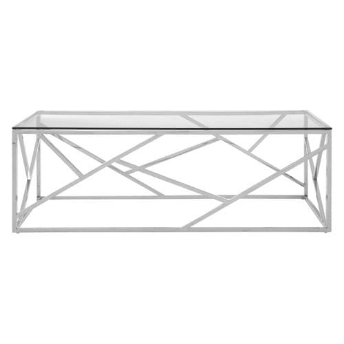 Axel Glass Coffee Table Silver Home Furniture