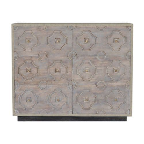 Baisemain 6- Drawer Wooden Chest Pale Wash Home Furniture