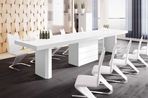 Blakely 160cm-412cm  Extra Large White Dining Table