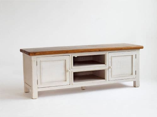 Elegant Bode Antiqued White And Pine Country TV Stand