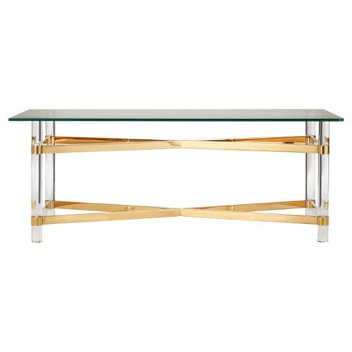 Carson Glass Coffee Table Gold Home Furniture
