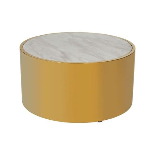 Connor Round Coffee Table Gold Finish Home Furniture