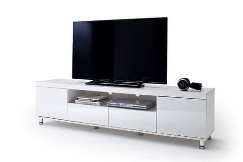 White High Gloss Finish Diji TV Stand With 2 Drawers