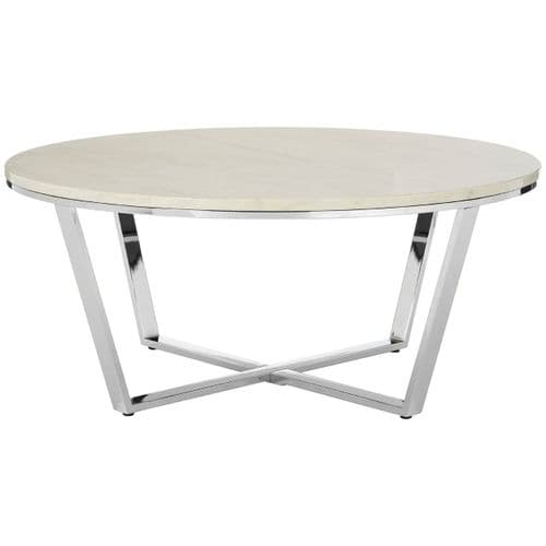 Edmond Round Coffee Table White Home Furniture
